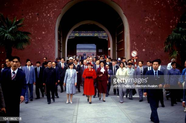 Queen Elizabeth II makes an official state visit to China, Forbidden City, Beijing, 12th October 1986.