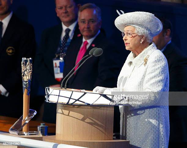 Queen Elizabeth II makes her speech as she attends the Opening Ceremony for the Glasgow 2014 Commonwealth Games at Celtic Park on July 23 2014 in...