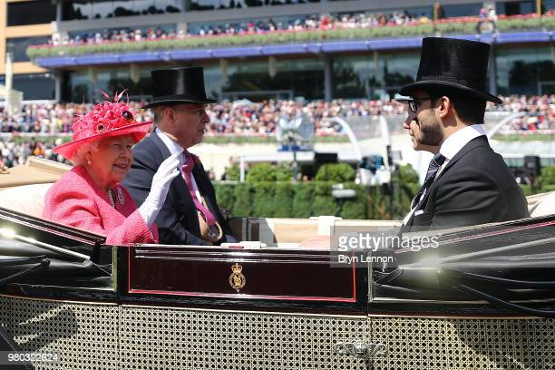 Queen Elizabeth II makes her way around the parade ring on day 3 of Royal Ascot at Ascot Racecourse on June 21 2018 in Ascot England