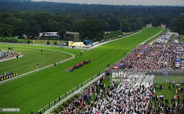 Queen Elizabeth II makes her way through the course during the Royal Procession during Day Four of Royal Ascot 2016 at Ascot Racecourse on June 17...