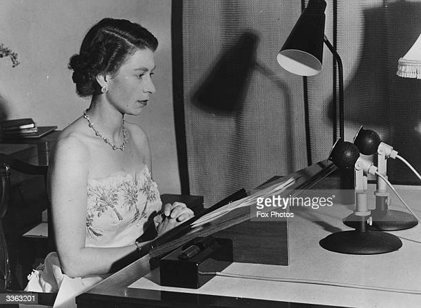 Queen Elizabeth II making a radio broadcast from Auckland New Zealand during a Royal tour of Australasia