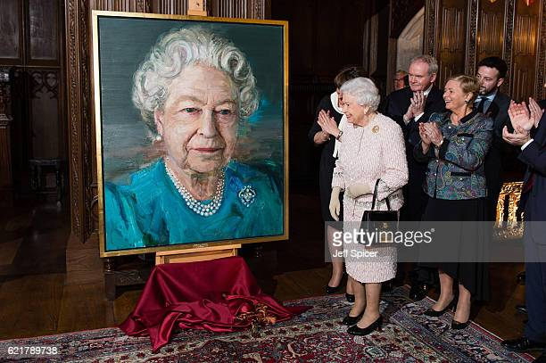 Queen Elizabeth II Martin McGuinness Deputy First Minister of Northern Ireland and Frances Fitzgerald Minister of Justice and Equality Gov of Ireland...