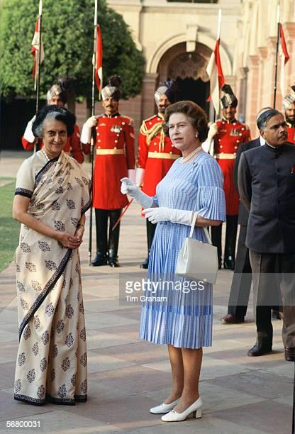 Queen Elizabeth II meeting Indira Gandhi during a visit to India