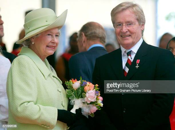 Queen Elizabeth II Meeting Television Actor Bill Roach During Her Visit To The Centre Of Preston