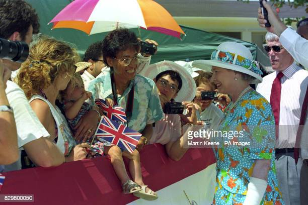 Queen Elizabeth II meeting wellwishers during a walkabout in Bodden Town Cayman Islands