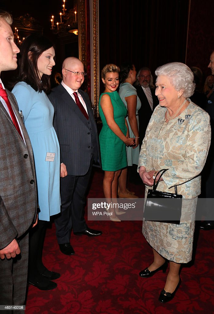 Queen Elizabeth II meets actors Sheridan Smith (4th left), Matt Lucas (3rd left) and singer Sophie Ellis-Bextor (2nd left) during her reception to celebrate the patronages & affiliations of the Earl and Countess of Wessex at Buckingham Palace on February 10, 2015 in London, England