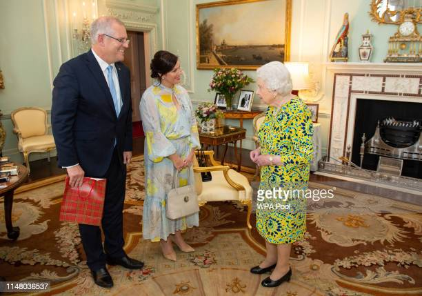 Queen Elizabeth II meets Australian Prime Minister Scott Morrison and his wife Jennifer during a private audience at Buckingham Palace on June 4 2019...