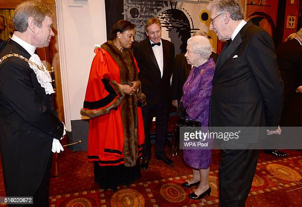 Queen Elizabeth II meets Baroness Scotland during a reception for the High Commissioners' Banquet to mark Commonwealth Week at the Guildhall on March...