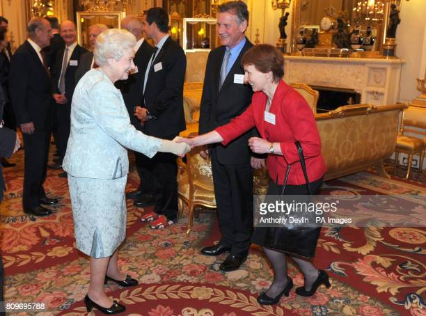Queen Elizabeth II meets Dr Helen Sharman as the Queen and Duke of Edinburgh host a reception to celebrate exploration and adventure at Buckingham...