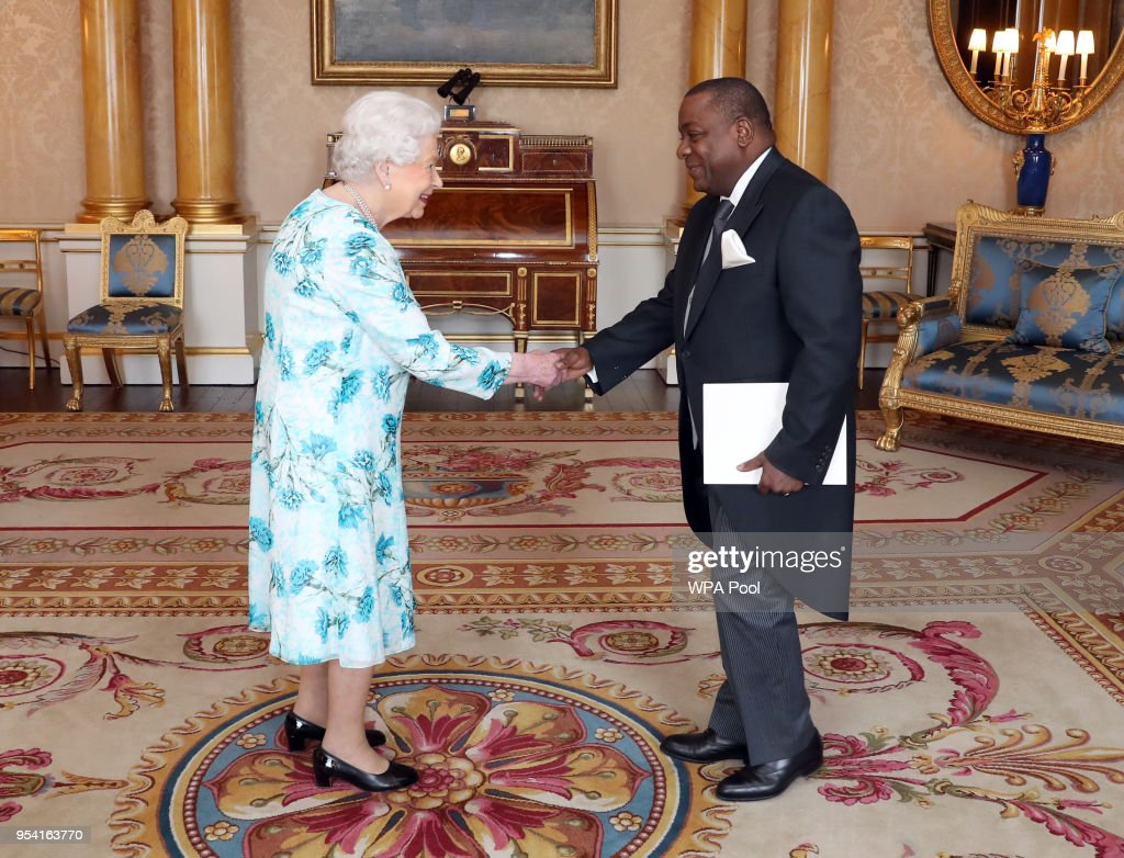 Queen Elizabeth II meets His Excellency, Mr Rui Jorge Carneiro Mangueira, the Ambassador from the Republic of Angola, as he presents his Letters of Credence during a private audience at Buckingham Palace on May 3, 2018 In London, England.