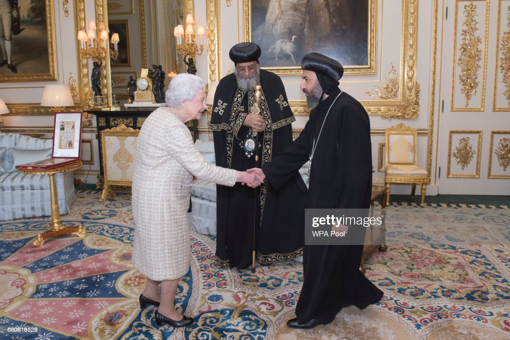 Queen Elizabeth II meets His Holiness Pope Tawadros II and His Grace Bishop Angaelos of the Coptic Church during a private audience at Windsor Castle on May 9, 2017 in Windsor, United Kingdom. Pope Tawadros II, 118th Pope of Alexandria and Patriarch of the See of Saint Mark, is making his first pastoral visit to the United Kingdom.