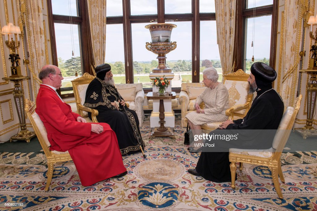 Queen Elizabeth II meets His Holiness Pope Tawadros II, His Grace Bishop Angaelos of the Coptic Church and Dean of Windsor The Right Reverend David Connor during a private audience at Windsor Castle on May 9, 2017 in Windsor, United Kingdom. Pope Tawadros II, 118th Pope of Alexandria and Patriarch of the See of Saint Mark, is making his first pastoral visit to the United Kingdom.
