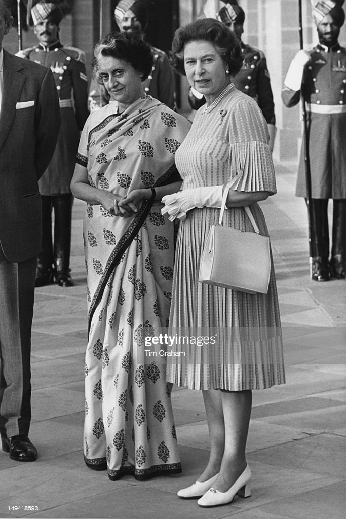 Queen Elizabeth II meets Indira Gandhi (1917 - 1984), the Prime Minister of India, at Hyderabad House in Delhi, India, 17th November 1983.