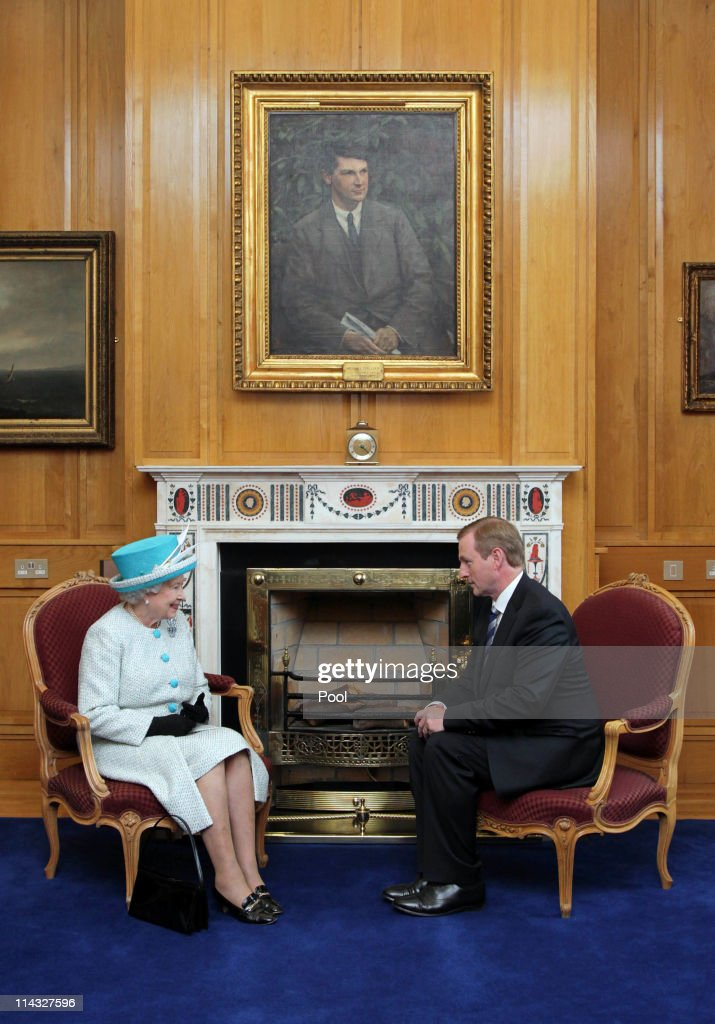 Queen Elizabeth II (L) meets Irish Prime Minister Enda Kenny during a visit to Government Buildings on Merrion Street on May 18, 2011 in Dublin, Ireland. The Duke and Queen's visit to Ireland is the first by a monarch since 1911. An unprecedented security operation is taking place with much of the centre of Dublin turning into a car free zone. Republican dissident groups have made it clear they are intent on disrupting proceedings.