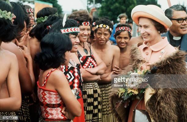 Queen Elizabeth II meets Maoris in New Zealand 1977