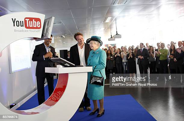 Queen Elizabeth II meets members of staff during a visit to the UK headquarters of internet search engine company Google on October 16 2008 in London...