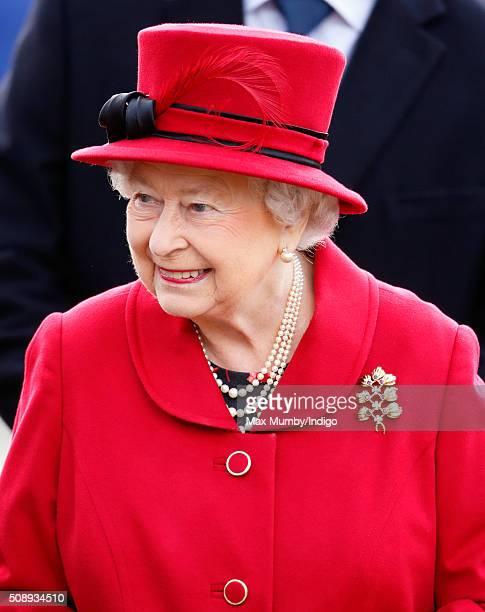 Queen Elizabeth II meets members of the public during a walkabout after attending Sunday service at the Church of St Peter St Paul West Newton on...