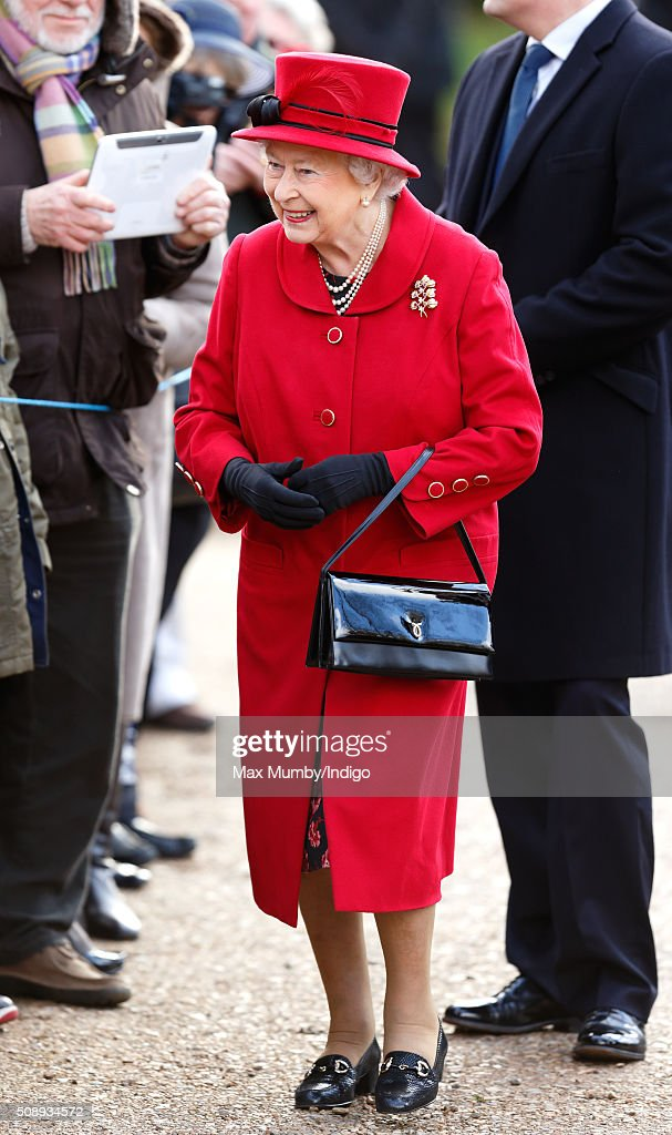 Queen Elizabeth II And The Duke Of Edinburgh Attend Sunday Service In West Newton : News Photo