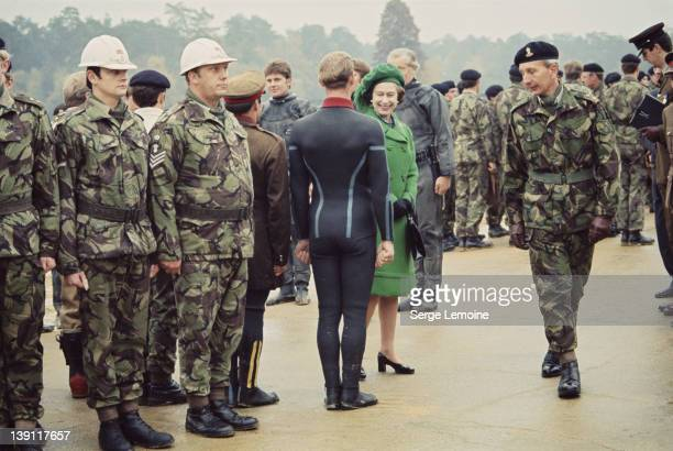 Queen Elizabeth II meets men of the Royal Marines circa 1980