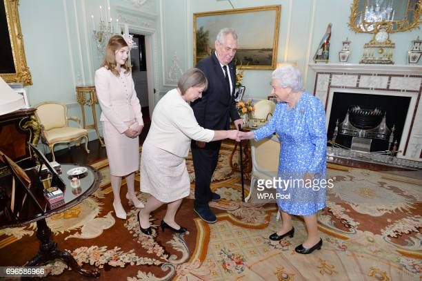 Queen Elizabeth II meets Milos Zeman President of the Czech Republic accompanied by his wife Ivana and daughter Katerina during a private audience...