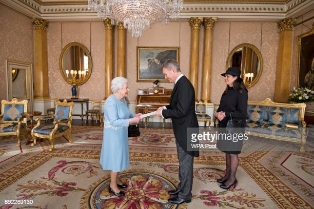 Queen Elizabeth II meets Mr Stefan Haukur Johannesson the Ambassador of Iceland and Mrs Halldora Hermannsdottir during a private audience at...