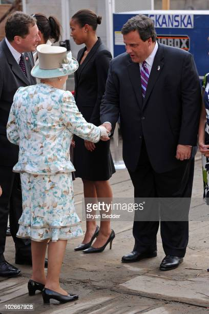Queen Elizabeth II meets New Jersey Governor Chris Christie during a visit Ground Zero at the World Trade Center site on July 6, 2010 in New York...