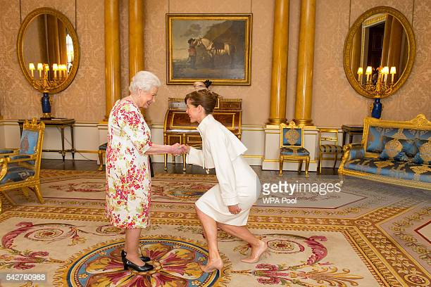 Queen Elizabeth II meets President of the Royal Academy of Dance Darcey Bussell during a private audience at Buckingham Palace on June 24 2016 in...