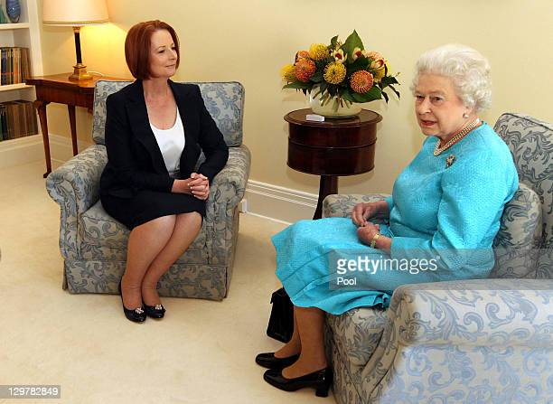 Queen Elizabeth II meets Prime Minister Julia Gillard at Government House on October 21 2011 in Canberra Australia The Queen and Duke of Edinburgh...