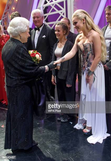 Queen Elizabeth II meets singer Katherine Jenkins following the Royal Variety Performance on December 7 2009 in Blackpool England