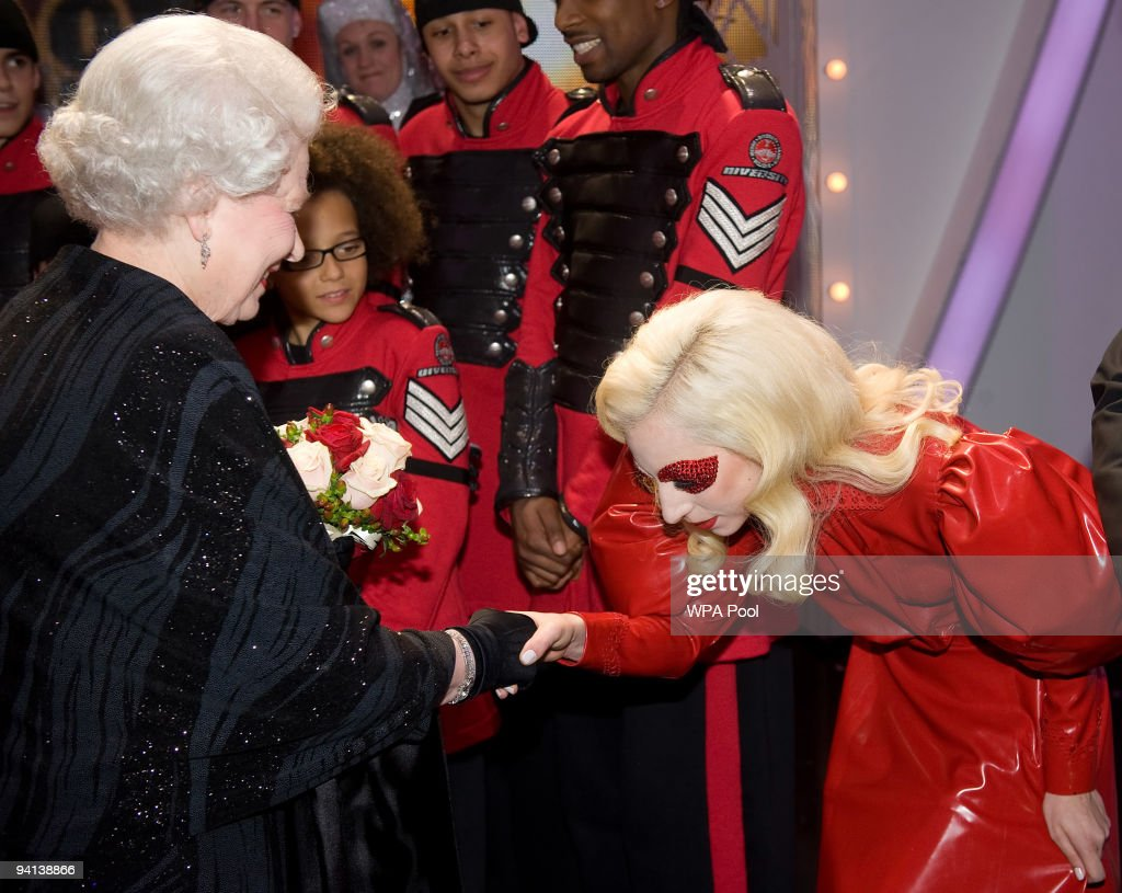 Queen Elizabeth II meets singer Lady Gaga following the Royal Variety Performance on December 7, 2009 in Blackpool, England