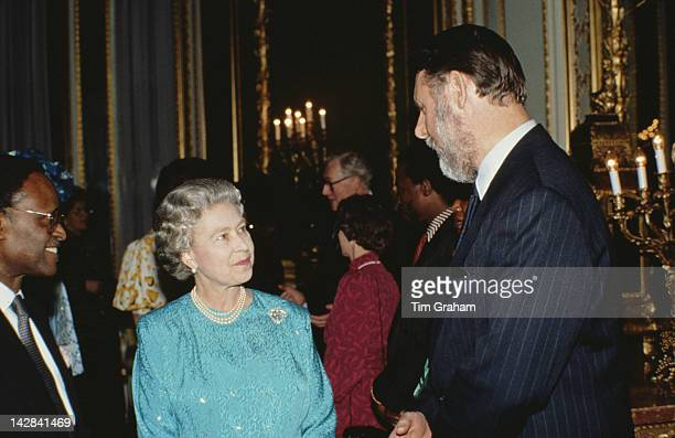 Queen Elizabeth II meets Terry Waite at a Commonwealth Day reception in London, March 1992.