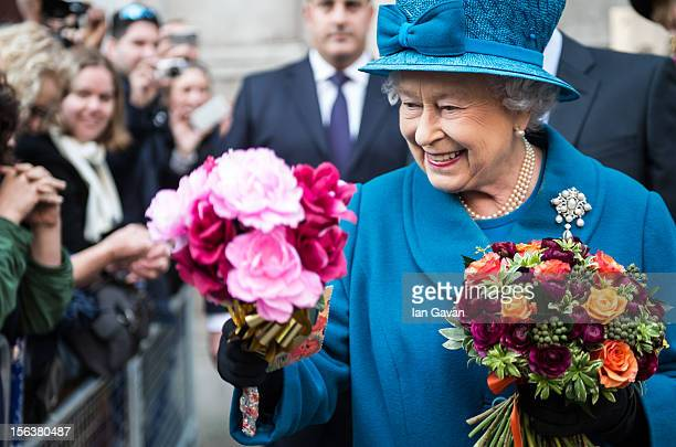 Queen Elizabeth II meets the crowd after her visit to the Royal Commonwealth Society on November 14 2012 in London England