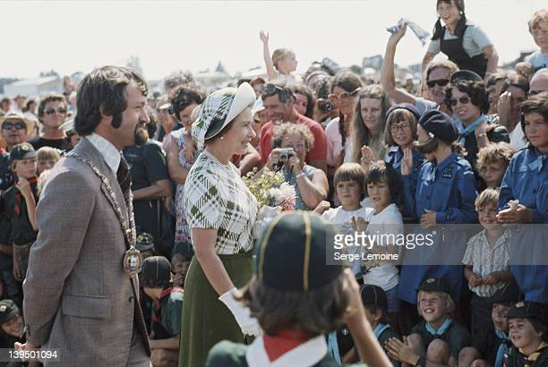 Queen Elizabeth II meets the crowds during a tour of New Zealand 1977