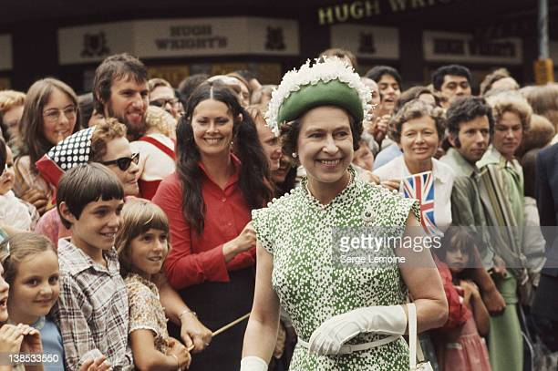 Queen Elizabeth II meets the crowds during her royal tour of New Zealand, 1977.