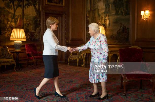 Queen Elizabeth II meets the First Minister of Scotland Nicola Sturgeon during a private audience at the Palace of Holyroodhouse on July 3, 2019 in...