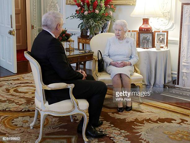 Queen Elizabeth II meets the First Minister of Wales Carwyn Jones during a private audience at Buckingham Palace on December 8 2016 in London United...