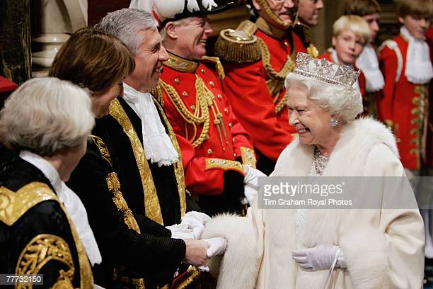Queen Elizabeth II meets the Lord Chancellor Jack Straw and Tessa Jowell Minister for London and Minister for the London 2012 Olympic Games at the...