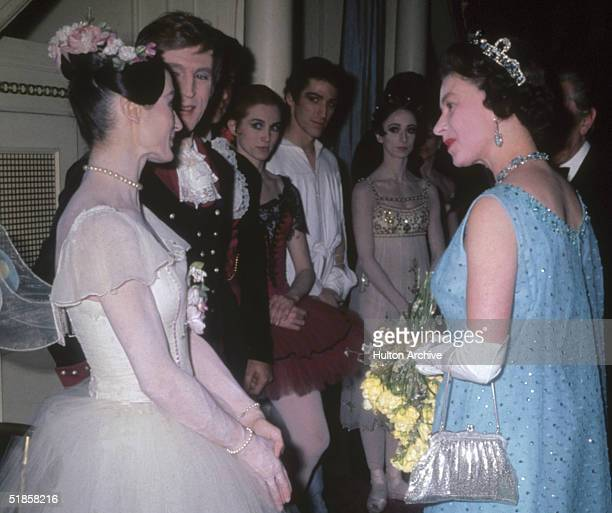 Queen Elizabeth II meets the performers at a gala ballet at Covent Garden March 1969