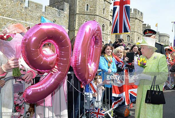 Queen Elizabeth II meets the public on her 90th Birthday Walkabout on April 21 2016 in Windsor England Today is Queen Elizabeth II's 90th Birthday...