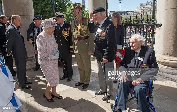 Queen Elizabeth II meets Veteran George Reynolds during the 70th Anniversary commemorations of VJ Day at St MartinintheFields Church on August 15...