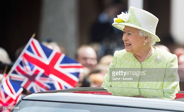 Queen Elizabeth II meets well wishers on a walk about around Windsor on her 90th Birthday on April 21, 2016 in Windsor, England.