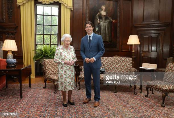 Queen Elizabeth II meets with Canadian Prime Minister Justin Trudeau during an audience at the Palace of Holyroodhouse in Edinburgh Scotland