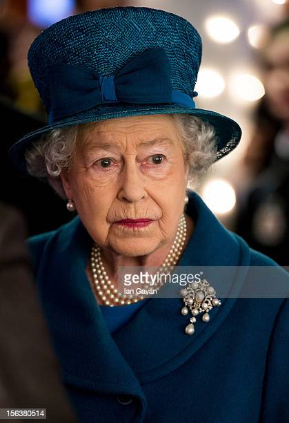 Queen Elizabeth II meets with guests during her visit to the Royal Commonwealth Society on November 14 2012 in London England