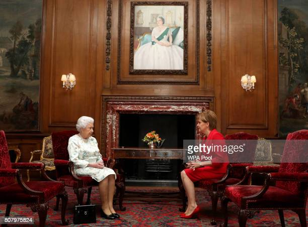 Queen Elizabeth II meets with Scotland's First Minister Nicola Sturgeon during an audience at the Palace of Holyroodhouse on July 4 2017 in Edinburgh...