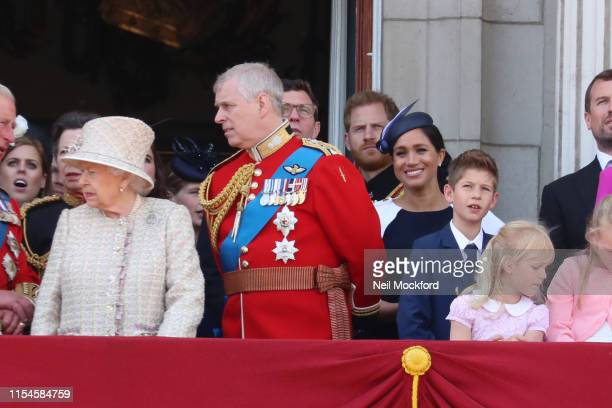 Queen Elizabeth II Meghan Duchess of Sussex Prince Harry Duke of Sussex on the balcony of Buckingham Palace during Trooping The Colour the Queen's...