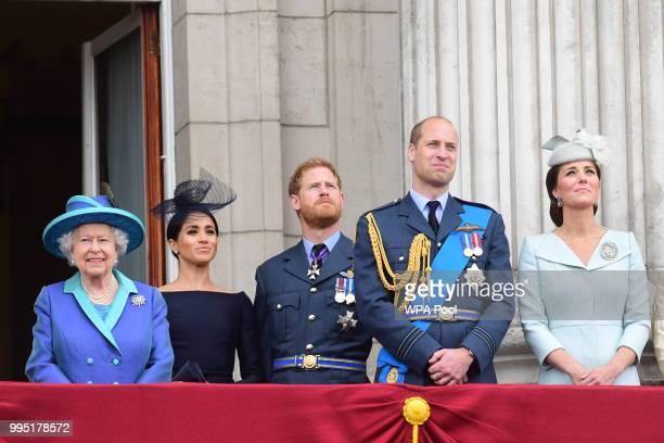 Queen Elizabeth II, Meghan, Duchess of Sussex, Prince Harry, Duke of Sussex, Prince William Duke of Cambridge and Catherine, Duchess of Cambridge...