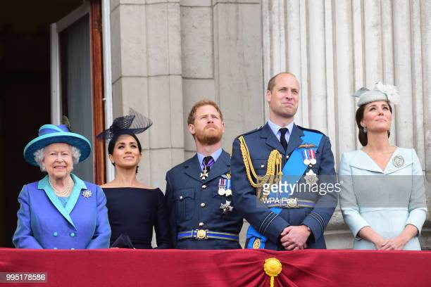 Queen Elizabeth II, Meghan, Duchess of Sussex, Prince Harry, Duke of Sussex, Prince William Duke of Cambridge and Catherine, Duchess of Cambridge...