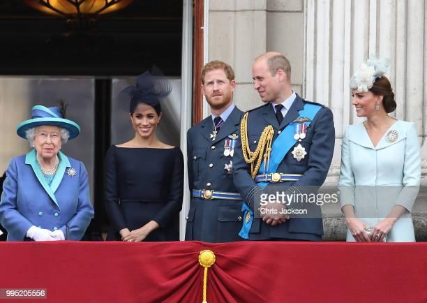 Queen Elizabeth II, Meghan, Duchess of Sussex, Prince Harry, Duke of Sussex, Prince William, Duke of Cambridge and Catherine, Duchess of Cambridge...