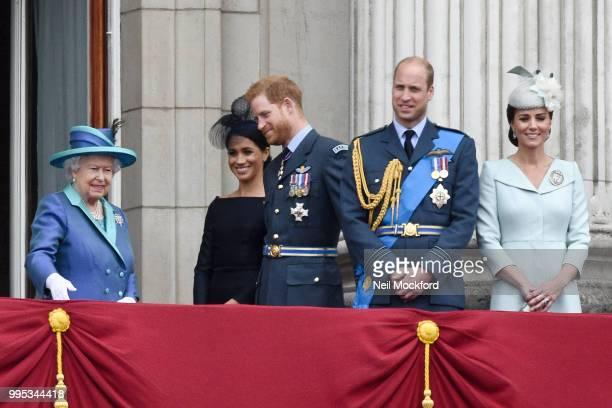 Queen Elizabeth II Meghan Duchess of Sussex Prince Harry Duke of Sussex Prince William Duke of Cambridge and Catherine Duchess of Cambridge watch the...
