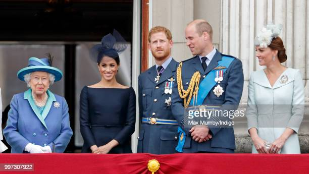 Queen Elizabeth II Meghan Duchess of Sussex Prince Harry Duke of Sussex Prince William Duke of Cambridge and Catherine Duchess of Cambridge watch a...